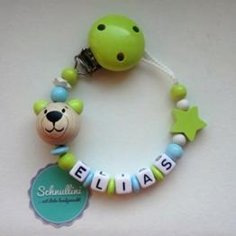 Schnullerkette mit Namen Teddy Stern Geschenk Taufe Geburt individuell   Junge Lemon Namenskette -