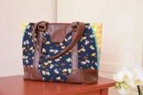 Schultertasche, Handtasche aus Designerstoffen mit Kunstleder, Handgemacht, Einzelstück, Unikat -