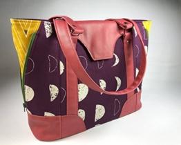 Schultertasche, Handtasche aus Designerstoffen mit Kunstleder, Handgemacht, limitiert -