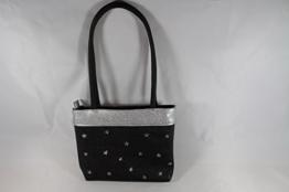 schwarze Abendhandtasche mit Sternchennieten -
