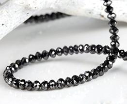 schwarze, facettierte Diamanten Kette, 38,25 Karat, 3,6 mm Durchmesser (Gelbgold 585) Diamantenkette -