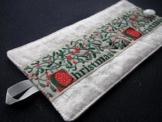 Serviettenring aus reiner Seide mit Band weiß, rot,Christmas -