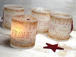 Set 6 x Tischlicht Weihnachten Vintage-Design Lichthülle für Teelicht oder LED Weihnachtsdeko Advent handmade -