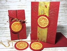 Set Geschenkverpackung und Weihnachtskarte Geschenkschachtel zu Weihnachten für Weihnachtsgeschenk handgefertigt Weihnachtsgeschenkverpackung Geschenkanhänger rot weinrot -
