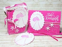 Set Geschenkverpackung und Weihnachtskarte Geschenkschachtel zu Weihnachten für Weihnachtsgeschenk handgefertigt Weihnachtsgeschenkverpackung Geschenkanhänger pink -