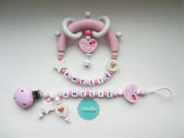 Set Schnullerkette und Greifling mit Namen Herz Kleines Wunder der Welt Gravur Geschenk Taufe Geburt individuell Stern | Mädchen rosa Namenskette -