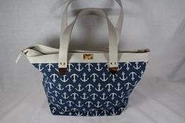 Shopper Handtasche PU Leder kombiniert mit Ankerstoff -