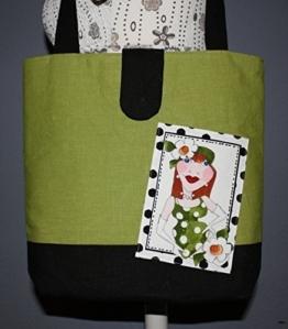 Shopper | Umhängetasche | Schultertasche | Handtasche | Handarbeit | Unikat | Leinen | grün | schwarz -