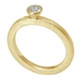 Silberring vergoldet 2 mm breit mit Zirkonia-Stein (Sterlingsilber 925) Zirkoniaring Beisteckring -