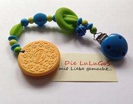 Spielkette Beißkette aus Silikon mit Keks in blau grün - Kinderwagenkette -