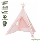 Spielzelt für Kinder,schadstofffreies Material, Holzstangen Aspe natur, Bezug 100 % Baumwolle Ökotex 100, Höhe ca. 150 cm, mit verschließbarem Fenster, rosa mit weißen Punkten -