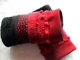 Stulpen, Pulswärmer, genäht, gefüttert,rot, dunkelrot,schwarz, fingerlose Handschuhe, Wolle -
