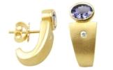 Tansanit Ohrstecker 1,01 ct. mit Diamanten (Gelbgold 750) Tansanitohrringe -