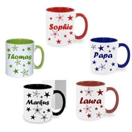 Tasse Kaffeebecher mit Namen Namentasse personalisiert mit Wunschnamen Sterne -