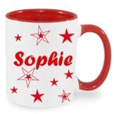 Tasse Kaffeebecher mit Namen personalisiert mit Wunschnamen Sterne Namentasse Rot, Bordeaux, Schwarz, Blau oder Hellgrün -
