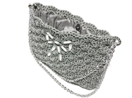 TECLA - Handmade in Italy - Handtasche elegant. Grau. Evening silver clutch purse. Unique piece. -
