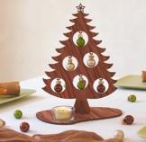 Tischdeko Weihnachtsbaum Joko tree 25cm mit 6 Glaskugeln 3cm und Glasteelicht -