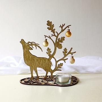 Tischlicht | Weihnachtsdeko | Tisch Dekoration | Hirsch gold | 20 x 20 cm -