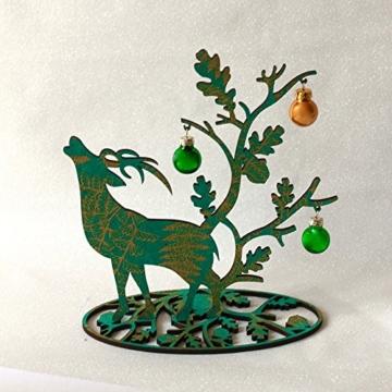 Tischlicht   Weihnachtsdeko   Tisch Dekoration   Hirsch grün-gold   20 x 20 cm -