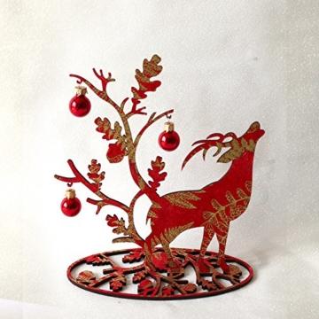 Tischlicht | Weihnachtsdeko | Tisch Dekoration | Hirsch rot | 20 x 20 cm -