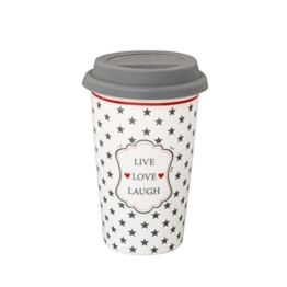 "To go - Becher ""live, love, laugh"" -"