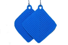 Topflappen blau gehäkelt aus Baumwollgarn 100 % Baumwolle -