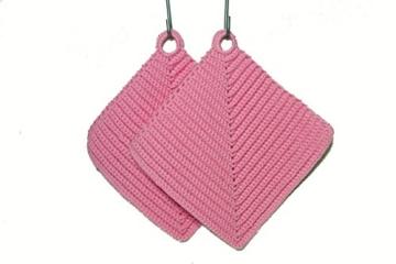 Topflappen rosa gehäkelt aus Baumwollgarn 100 % Baumwolle -