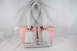 trendige Handtasche in Rose/Weiss Schlangenprägung -