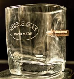 TrinkGlas bulletproof mit Gravur Option und echtem Geschoß Kaliber-Typ FMJ 7,85/.308 Wunschgravur-Geschenkidee. WhiskyGlas graviert Jack Daniels Stil -