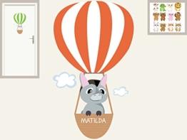 """Türschild """"Baby Tiere Heissluftballon"""" personalisierbarer Aufkleber Wandtattoo für Kinderzimmer Mobilserie -"""
