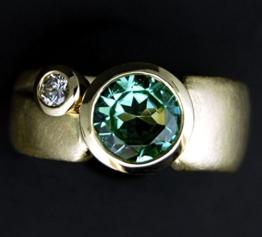 Turmalin Ring Brillant 585 Gelbgold -