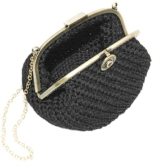 UMA - Handmade in Italy - Handtasche elegant. Kleine Kupplung. Schwarz. Evening black clutch purse, with vintage clasp. -