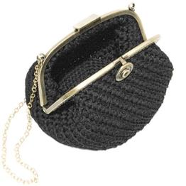 UMA - Handmade in Italy - Handtasche elegant. Kleine Kupplung. Schwarz. Evening black clutch purse, with vintage clasp. -