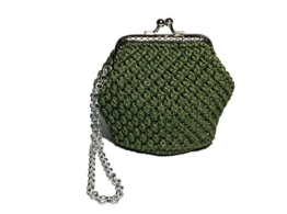 VIRGINIA - Handmade in Italy - Handtasche elegant. Grün. Evening green clutch purse / coin wallet, vintage kiss clasp. -