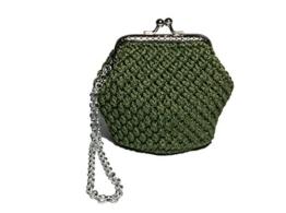 VIRGINIA - Handmade in Italy - Handtasche elegant. Grün. Evening green clutch purse / coin wallet, vintage kiss clasp. -