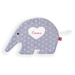 Wärmekissen Baby: Ameisenbär Léa mit Sternen in grau (Kirschkernkissen) mit Namen - für Kinder (personalisierte Geschenke) -