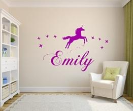 Wandschnörkel ® Wandtattoo Kinderzimmer W118 Wandaufkleber personalisiert Wunschnamen mit Einhorn und Sterne Jungen. Mädchen -