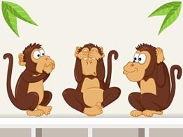 """Wandtattoo """"Die drei Affen"""" Afrika Dschungel Affen Wandaufkleber für Kinderzimmer -"""