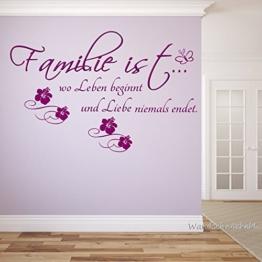 WANDTATTOO Familie ist wo Leben beginnt und Liebe niemals endet Spruch Wanddekoration Wohnzimmer Flur Farbe./Größenauswahl W28896 -