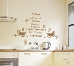 Wandtattoo Wandbild Aufkleber Küche Kaffee Coffee Motiv135 (in bester Qualität aus Markenfolie gefertigt) -