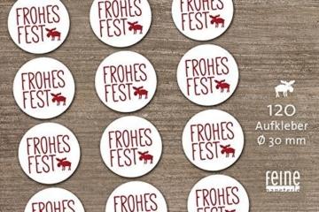 Weihnachten Advent 120 Stück Aufkleber Sticker Frohes Fest mit Elch Geschenkaufkleber Retro-Design rot weiß Ø 3 cm -