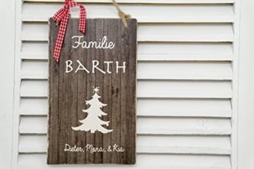 weihnachtliches Türschild mit Familiennamen -