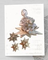 Weihnachtskarte, Engel, für Leseratten und für Bücherwürmer: Recyclingkarte mit handgemachtem Umschlag aus Buchseiten, weihnachtliche Karte mit kleinem Engel und Fröbelstern, Karte Fröbelstern, Weihnachtskarte Sternschnuppe -