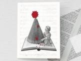 Weihnachtskarte, Weihnachtsbaum,für Buchliebhaber, mit handgemachtem Umschlag aus Buchseiten,als Buchgutschein, für Leseratten, nostalgische Klappkarte mit Weihnachtsbaum aus einem Buch -
