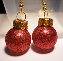 Weihnachtskugel Ohrringe Christbaumkugel Glitter rot Ohrhänger -