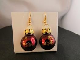 Weihnachtskugel Ohrringe Christbaumkugel rot dunkelrot gold Sterne Ohrhänger handmade -