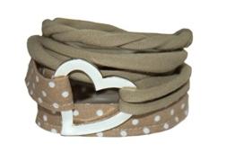 Wickelarmband Stoff in schlamm - breites Armband - onesize - Stoffarmband zum Wickeln - Handmade - Endlosarmband mit Metallelement Herz oder Ring - stretch - endlos - ohne Verschluss -