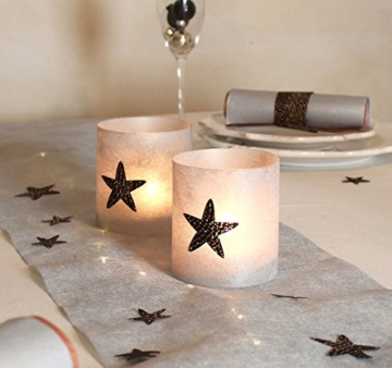 Windlichter | Tischdeko | Tischlicht | Sternen Set a 2 Stk | 9 cm Durchmesser -
