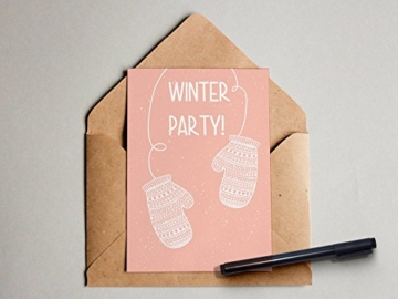 """Winter-Party"" Grußkarte Postkarte -"
