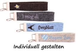 Wollfilz Schlüsselanhänger bestickt mit Wunschtext Schlüsselband -